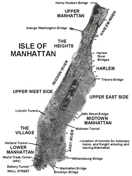 Aerial photograph map of Manhattan Island MAPAS Pinterest
