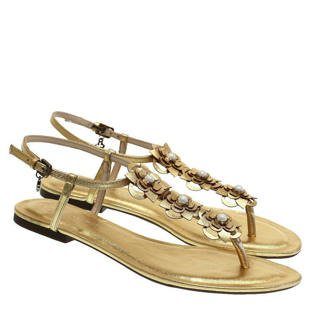 1f5d4e694 Sandália Rasteira Ouro 2088 Capodarte para Moselle | Moselle sapatos finos  online! Moselle é feminina