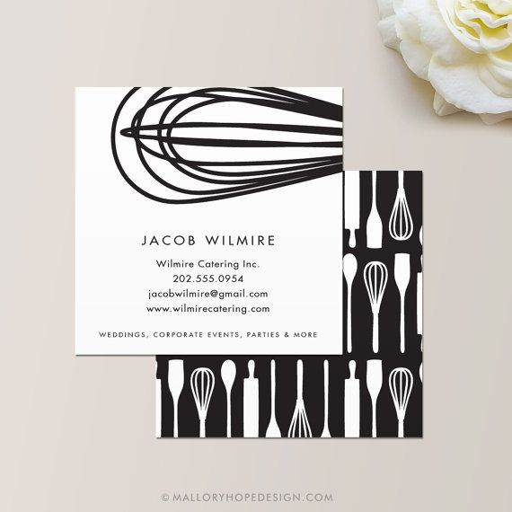 Whisk business card baker or catering chef business card catering whisk business card baker or catering chef business card catering card cook chef caterer square business cards instant download reheart Image collections