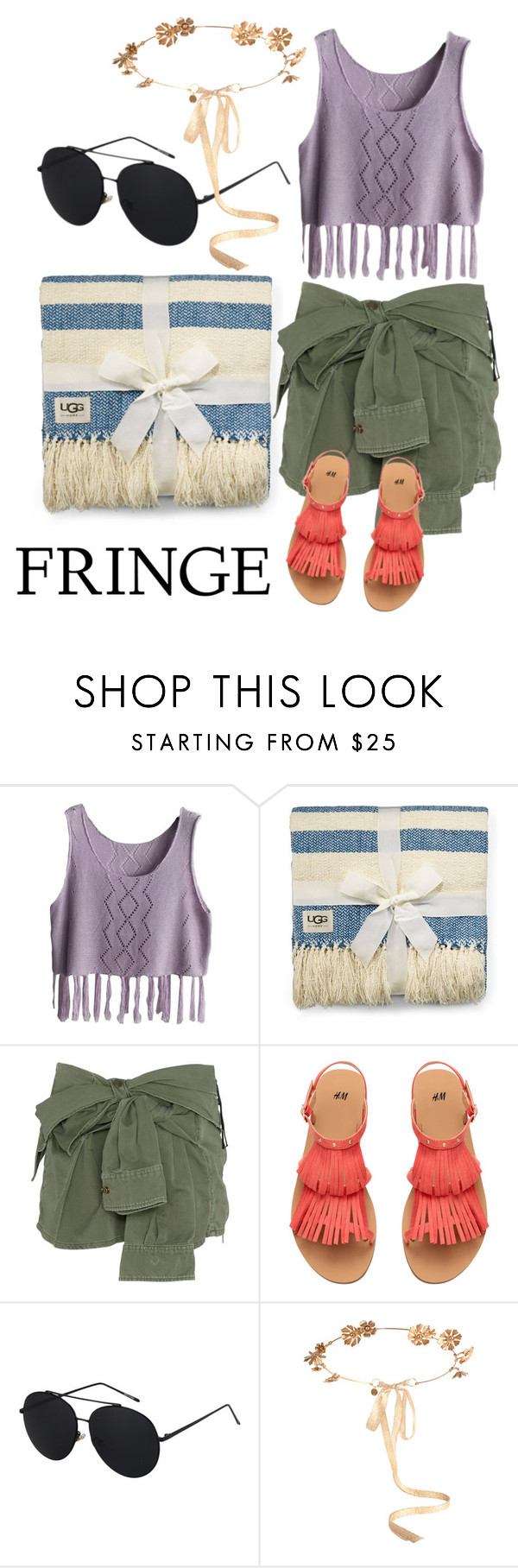 """Simple Fringe"" by lourdesnatalie ❤ liked on Polyvore featuring UGG Australia, Faith Connexion and Eugenia Kim"