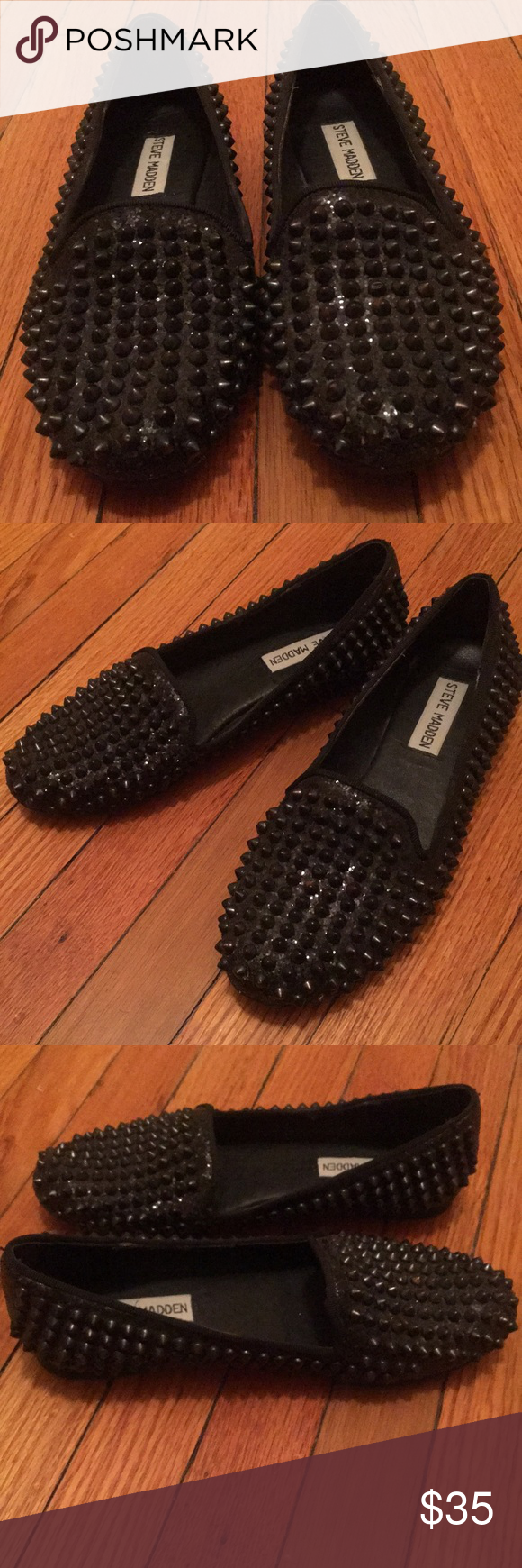 f1ca6576797 Sale 🌸Women s Steve Madden Black Studded Loafer💥 Steve Madden Black Metal  Spike Studded Women s Loafer. Fabric upper with leather lining. Gently worn  see ...
