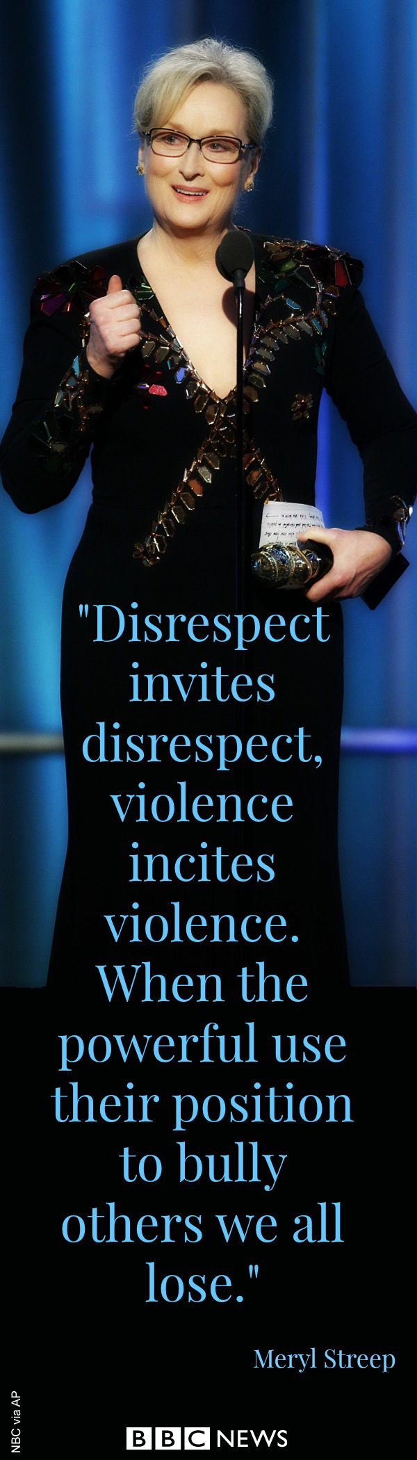 Actress Meryl Streep strongly criticised US President-elect Donald Trump as she received a lifetime achievement award at the Golden Globes. While Streep did not name Mr Trump, the three-time Oscar-winning actress used almost the entire speech to say his actions legitimised bullying.