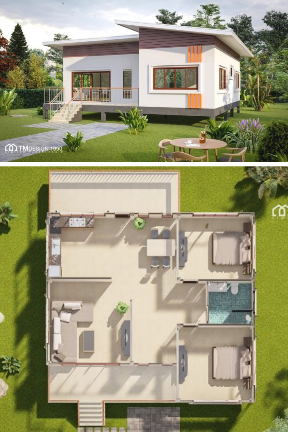 Elevated Two Bedroom Bungalow With A Cottage Look Pinoy Eplans Minimal House Design Flat House Design Little House Plans