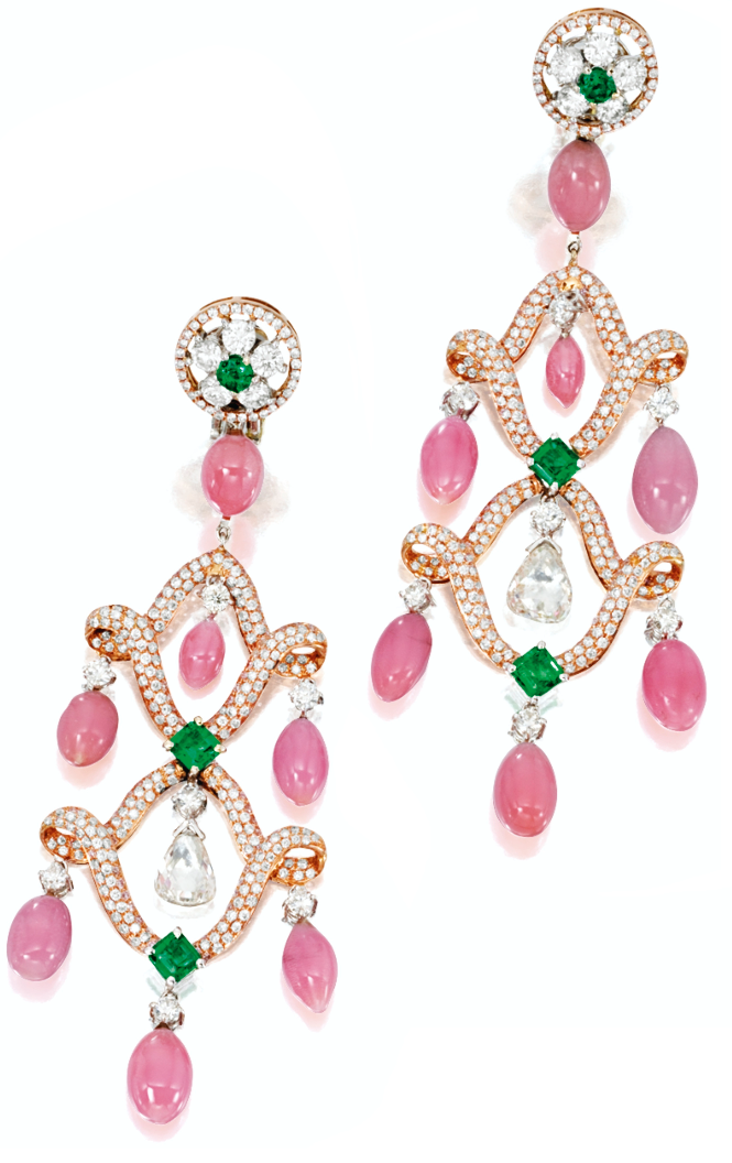 Conch pearl, diamond, pink diamond, and emerald earrings