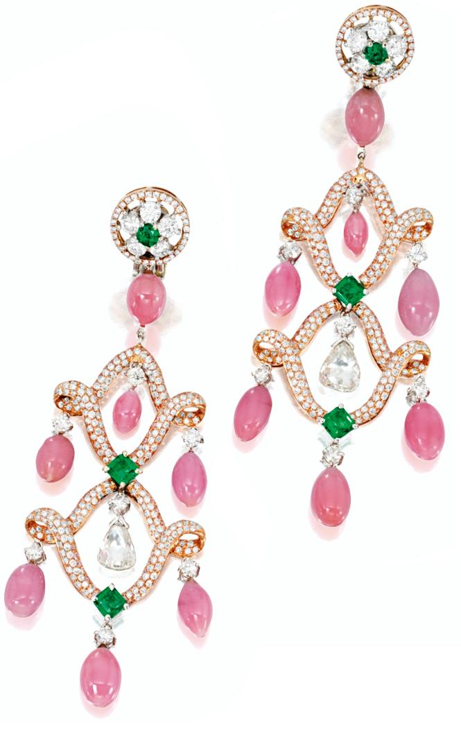 Conch pearl, diamond, pink diamond, and emerald earrings