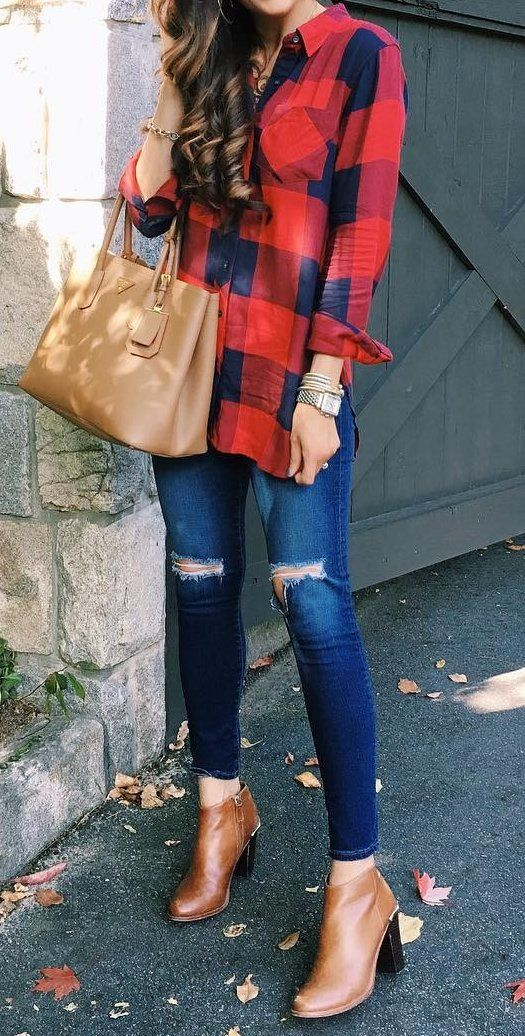 #fall #fashion · Plaid Shirt + Ripped Jeans + Leather Ankle Boots