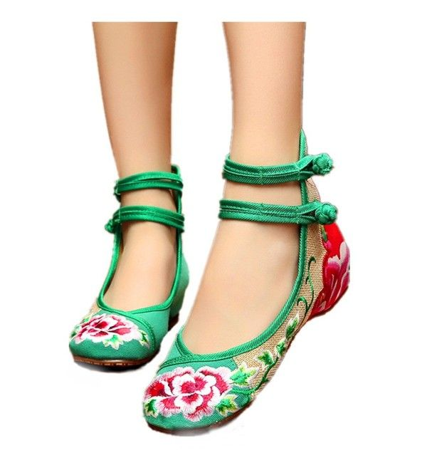 849a7b84a3e37 Women's Shoes, Oxfords, Women Flower Embroidery Shoes Chinese Round Toe  Flats With Rubber Sole Wedge Sandals - Green - CP182Y9T5QA #Shoes #Oxfords # fashion ...