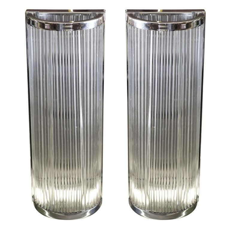 Pair of Chrome and Glass Tube Sconces / Italy / 1970s