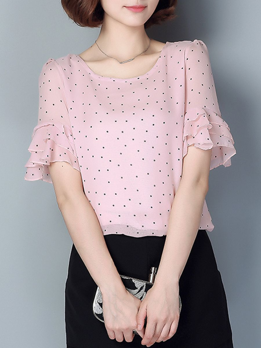 6ce4e8b58d6aed Spring Summer Chiffon Round Neck Polka Dot Bell Sleeve Short Sleeve Blouse  #Ad , #AFFILIATE, #Neck, #Polka, #Chiffon, #Spring
