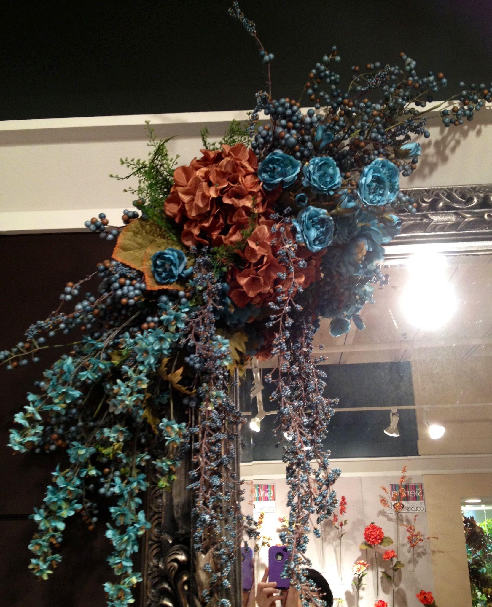 Blue and rust floral swag | Floral Arrangements ...