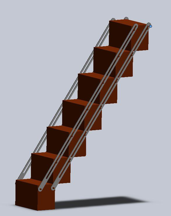 Combination Bookcase And Folding Staircase