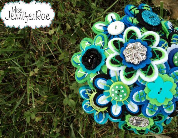 Custom Color Felt Button Bridesmaid Bouquet by MissJenniferRae, $70.00