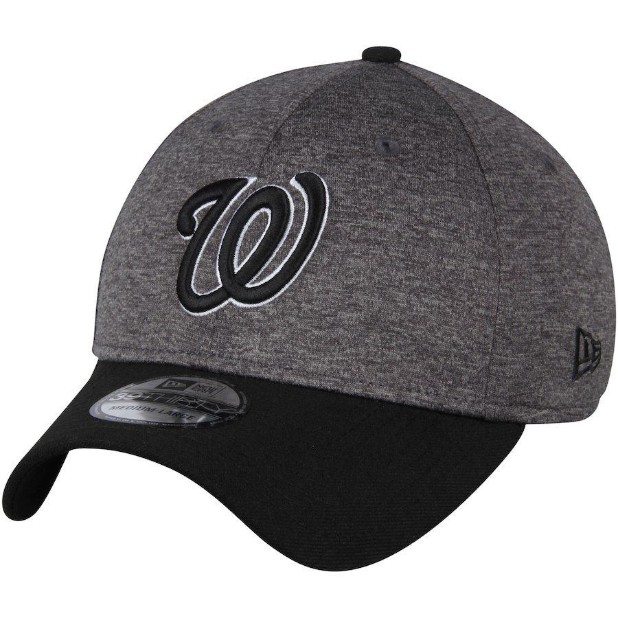 31bda5ef49122 Men s Washington Nationals New Era Heathered Gray Black Shadow Tech  39THIRTY Flex Hat