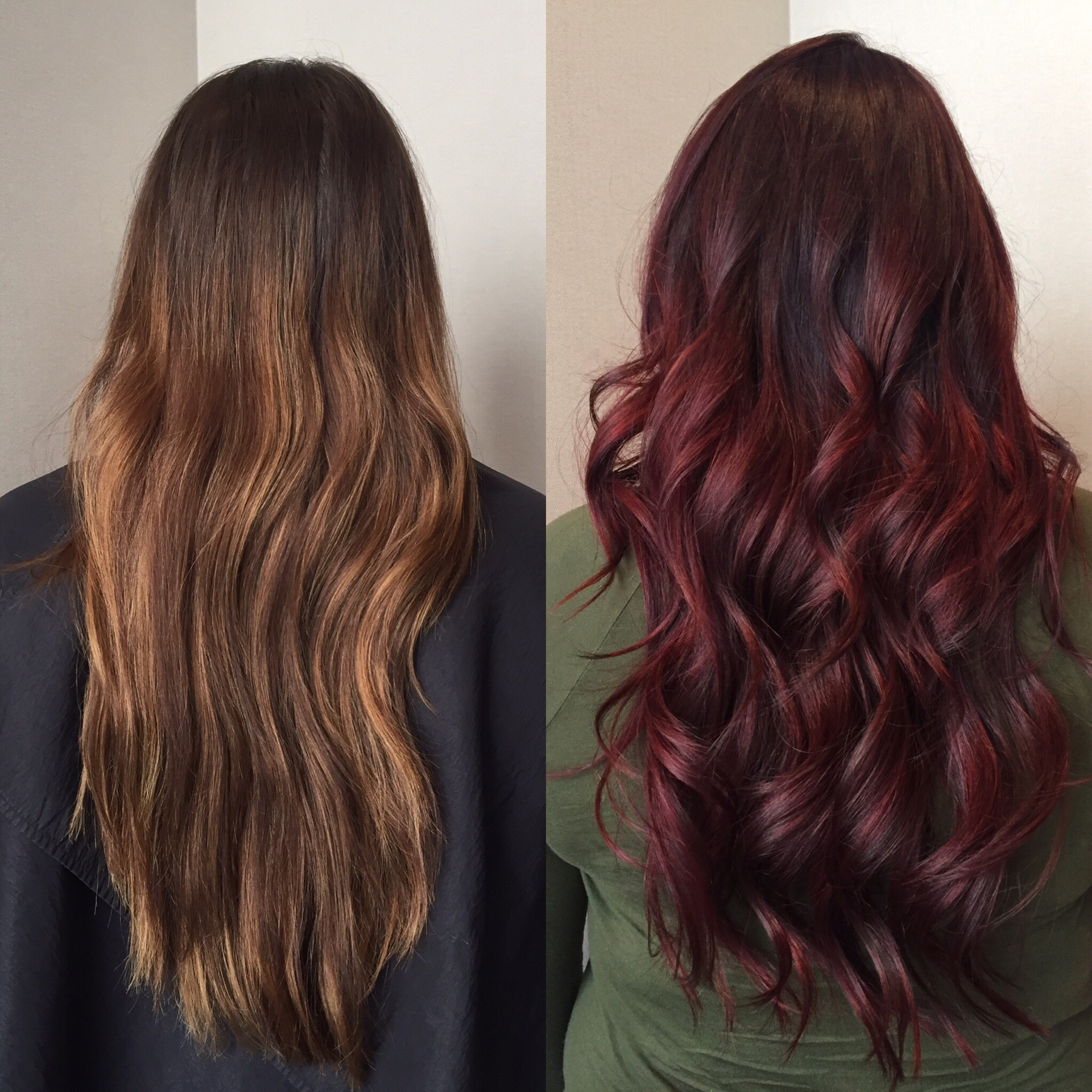 from faded chocolate and copper brown to dark cherry hair