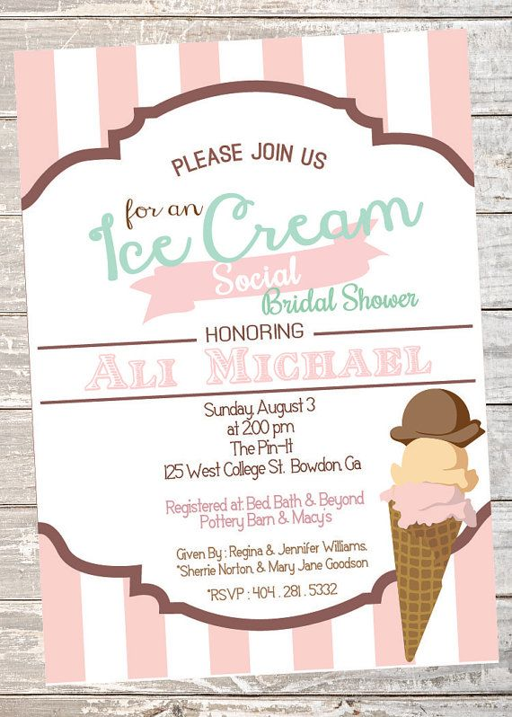 Ice Cream Social Wedding or Bridal Shower Invitation by InvitesbyC