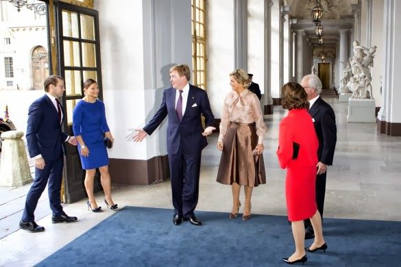 King Willem-Alexander and Queen Maxima visit King Carl Gustaf and Queen Silvia at the royal palace in Stockholm.Crown Princess Victoria, Prince Daniel and Prince Carl Philip attend the lunch.