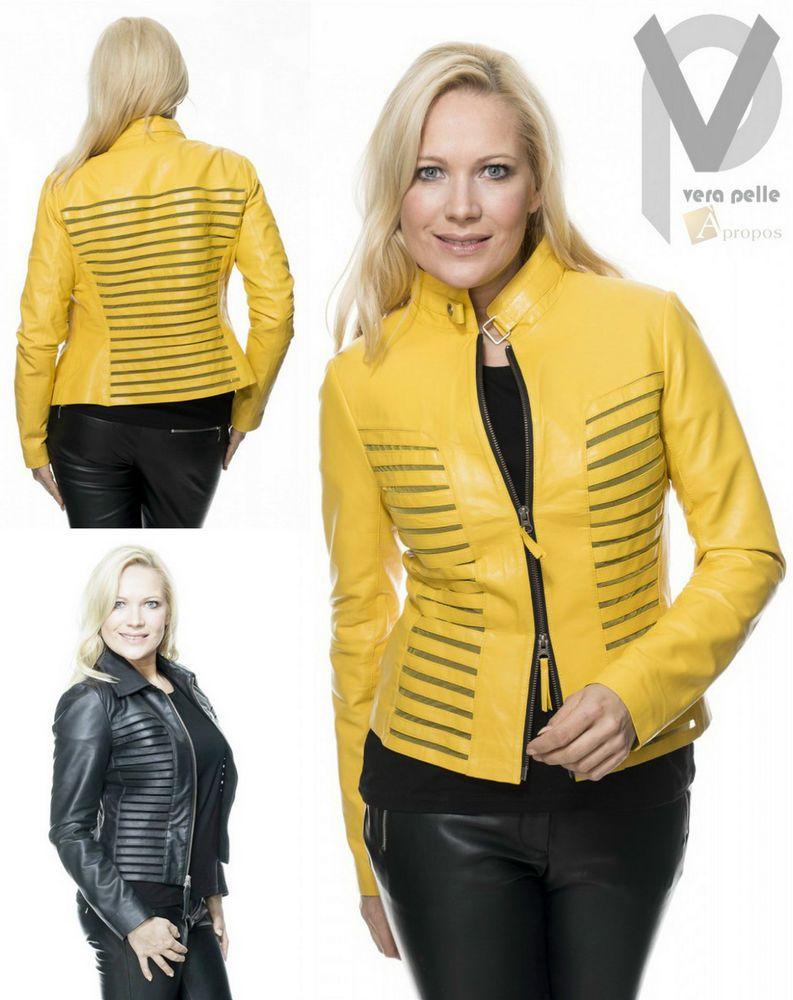 Vera pelle lederjacke luxus elegant extravagant t ll gelb schwarz apropos apropos luxus mode - Schwarze jeansjacke damen ...