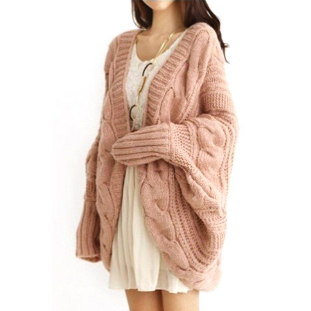 Urparcel Women Loose Thick Wool Sweater Batwing Sleeve Knit ...