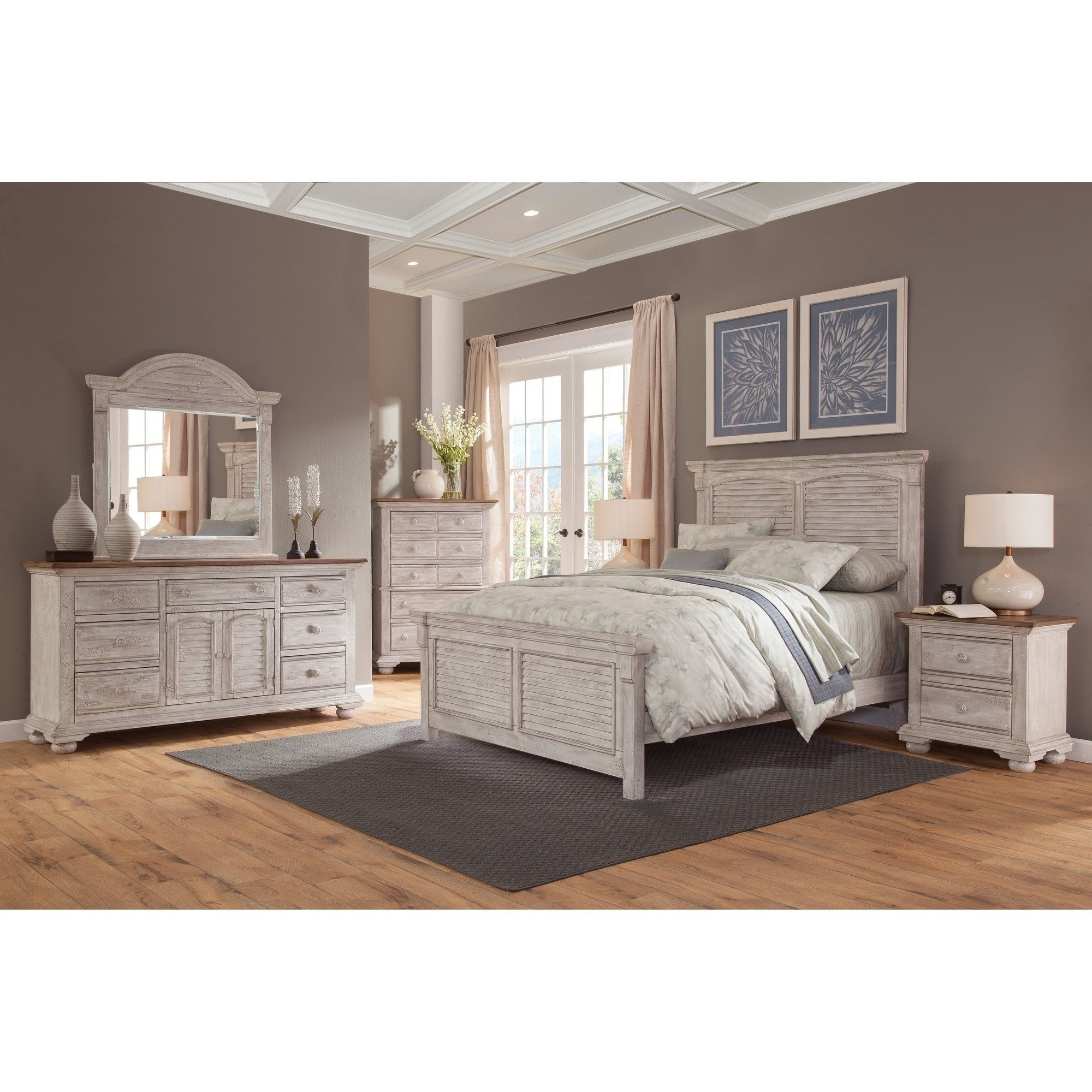 Carlyle Crackled White 5Piece Panel Bedroom Set by