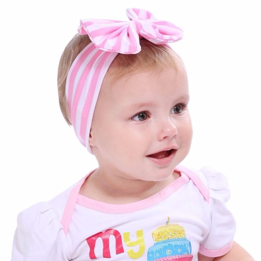20PCS Baby Headband Girl Toddler Bow Head Wrap Hair Band Striped Turban accessor