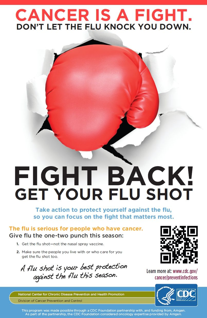 Cancer is a fight. Don't let the flu knock you down. Fight