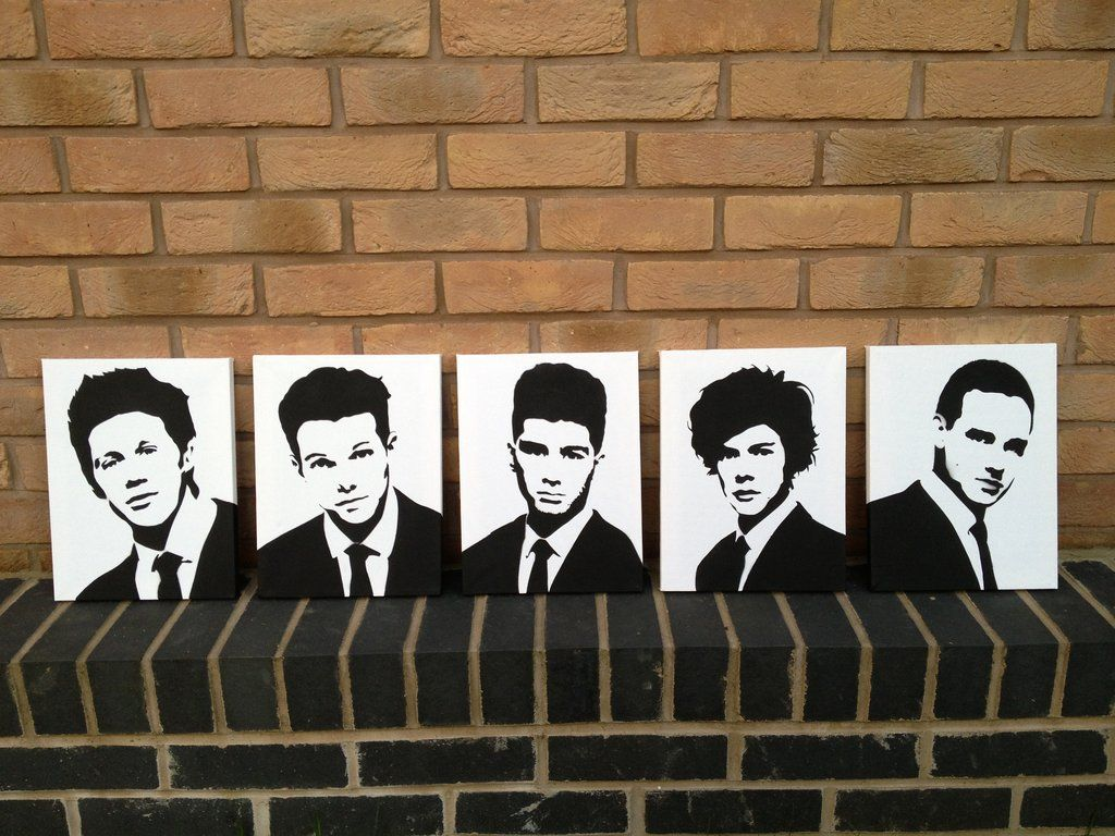 One Direction (1D) Spray Painted Stencils Canvas by ...
