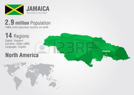 Jamaica. Mapa del mundo con una textura de diamante.