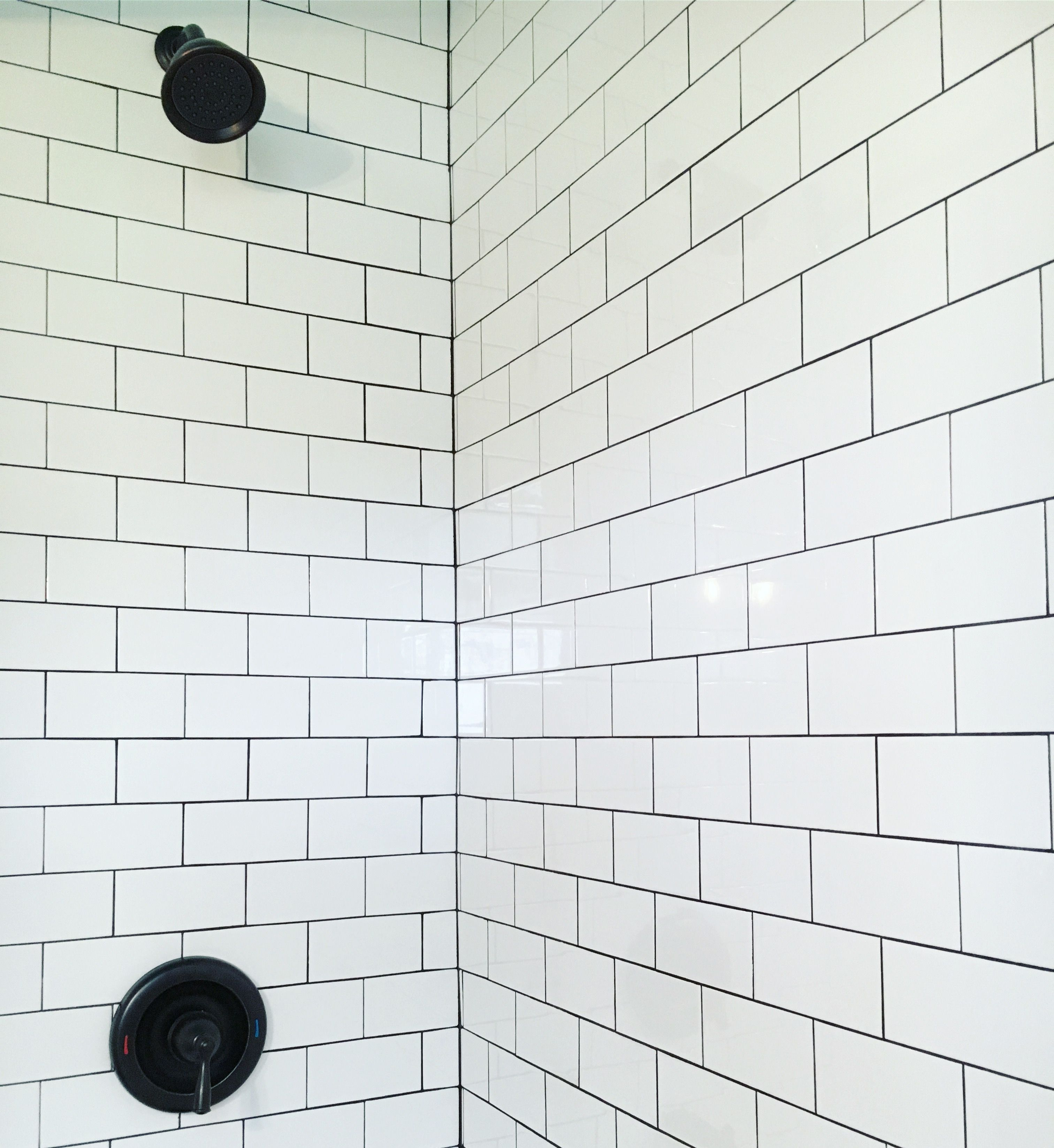 Jeffrey Court 3x6 White Subway Tile With No Spacers Grouted With