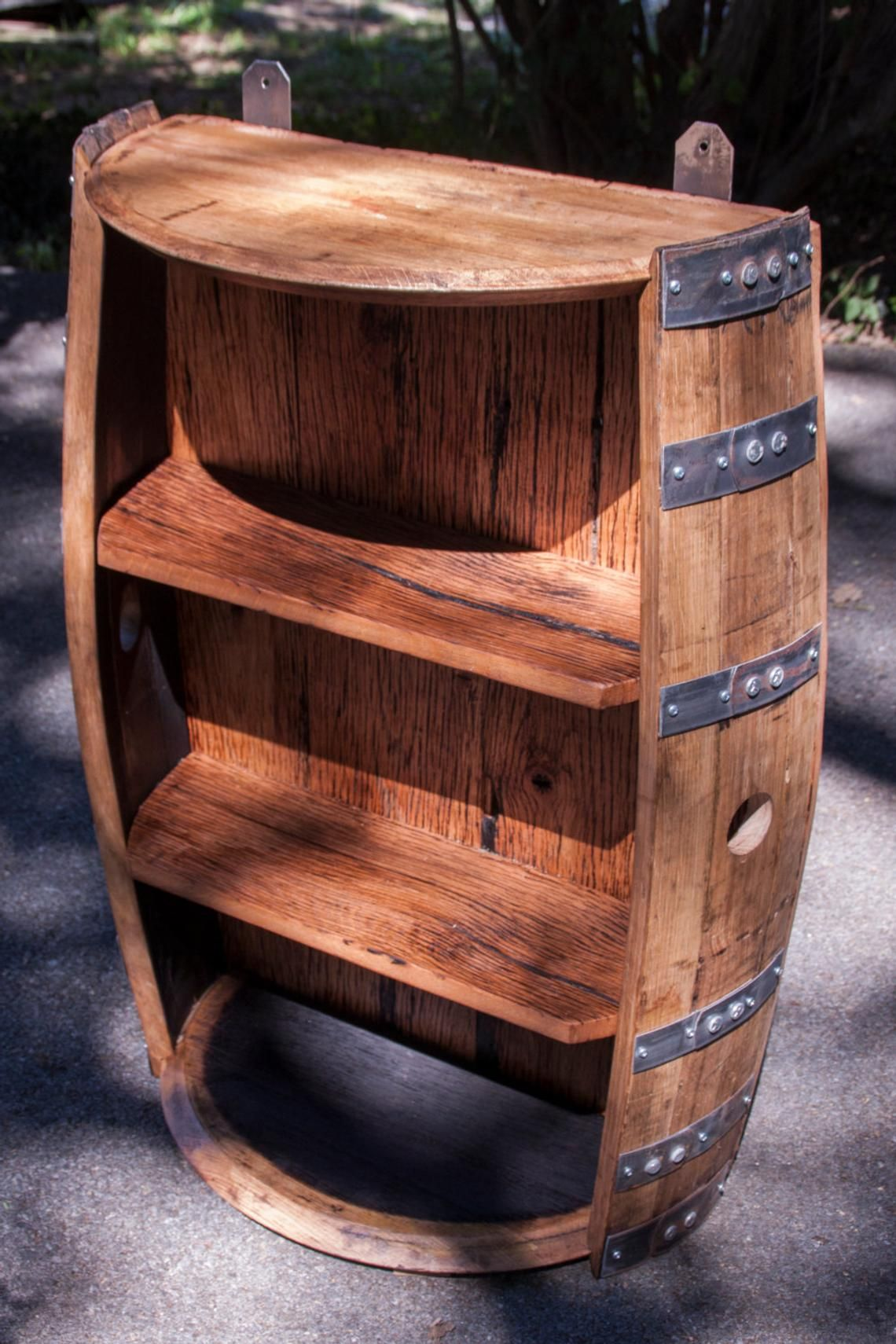 Bourbon Barrel And Reclaimed Barn Wood Shelf Etsy Barrel Decor Whiskey Barrel Furniture Barrel Furniture