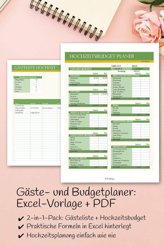 Hochzeitsplaner Fur Budget Und Gaste Excel Vorlage Und Pdf Etsy Hochzeitsplanung Excel Vorlage Checkliste Hochzeit