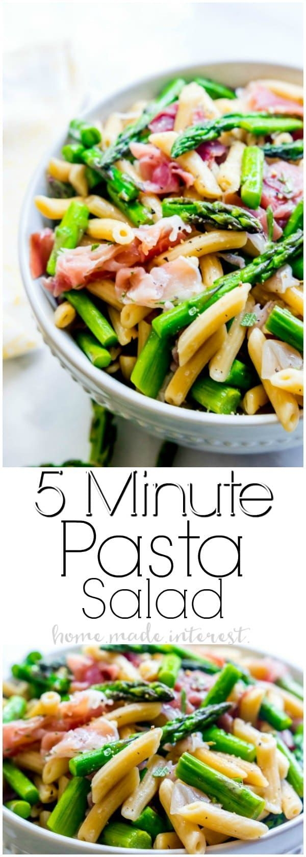 Easy Italian Pasta Salad | This light and fresh pasta salad recipe is made with salty prosciutto and steam asparagus tossed in a homemade vinaigrette. This healthy pasta salad is made in 5 minutes for a quick and easy lunch recipe or a quick and easy dinner recipe.  @barillaus #ReadyPasta AD