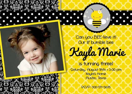 Birthday party invitation cute as a bee for girl photo diy birthday party invitation cute as a bee for girl photo diy printable bumble filmwisefo Images