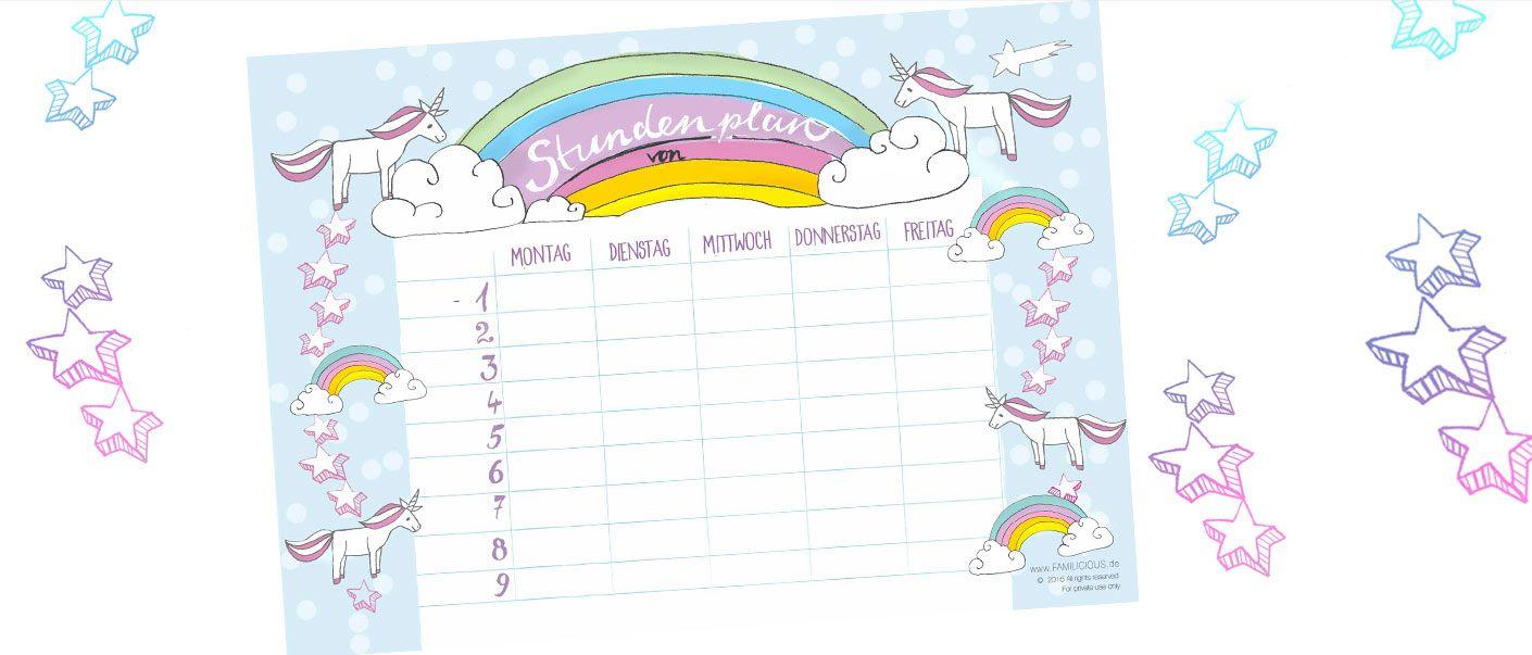 Der Stundenplan Mit Einhorn Und Regebogen   Diesen Timetable Als Free  Printable Kostenlos Ausdrucken Auf FAMILICIOUS