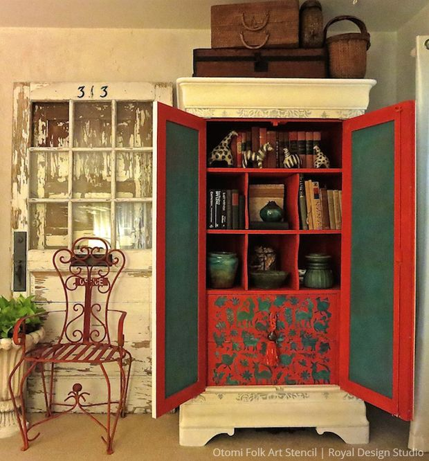 Diy Stenciled Cupboard Otomi Folk Art Stencil By Royal