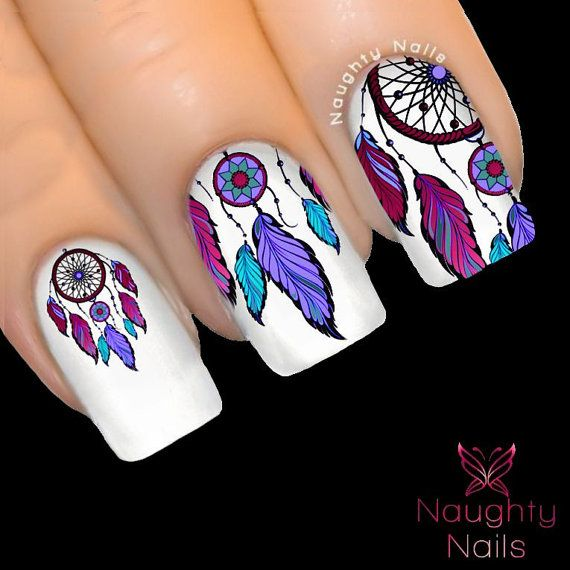 Dream Catcher Nail Art Feather Sticker Manicure Dreamcatcher Nail Polish New - Enchanted DREAM CATCHER Feather Nail Water Transfer Decal Sticker