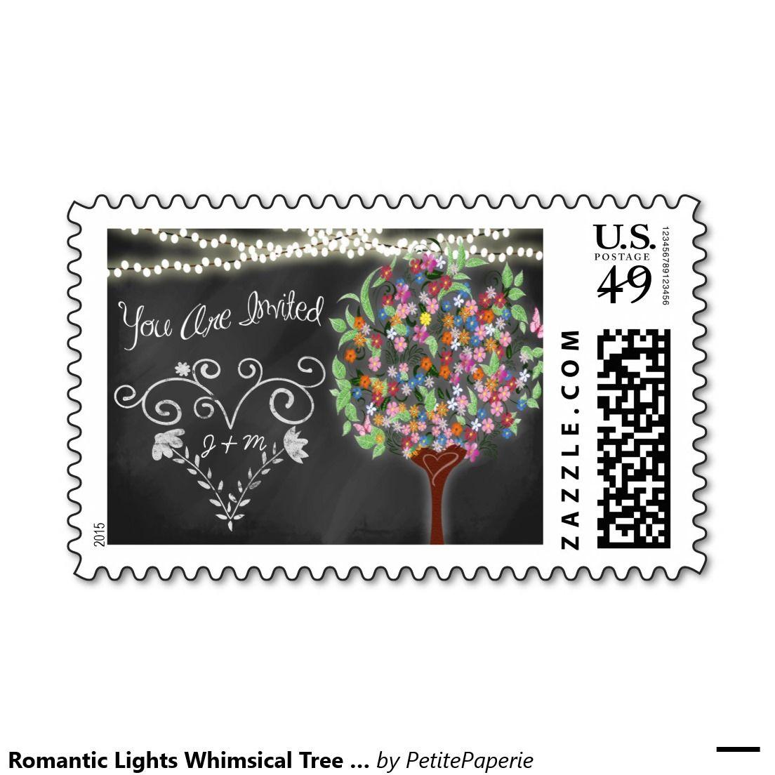 Romantic Lights Whimsical Tree Wedding Postage