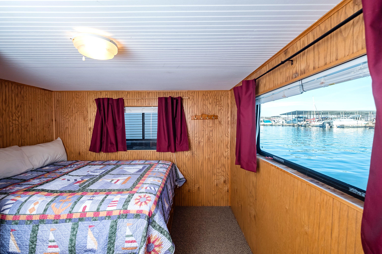 Bedroom of our floating cabin patoka lake marina lake
