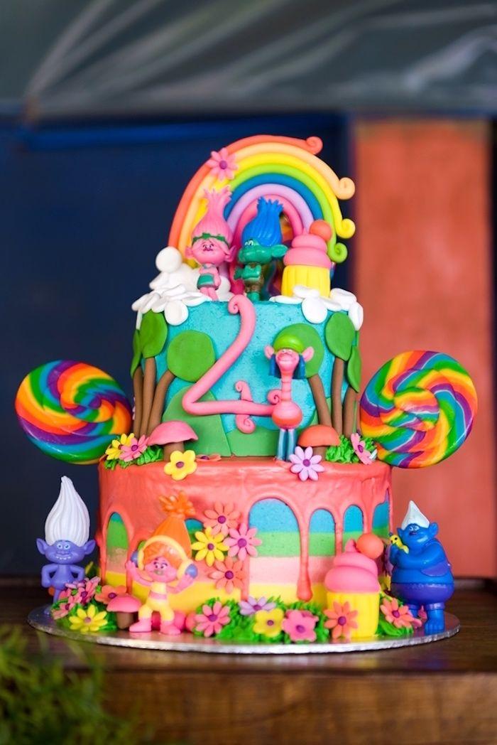 Dreamworks Trolls Cake From A Kara S Party Ideas