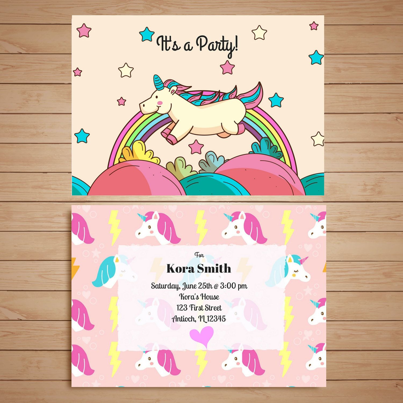 Handmade Customization Rainbow Pink Cute Unicorn Birthday Party ...