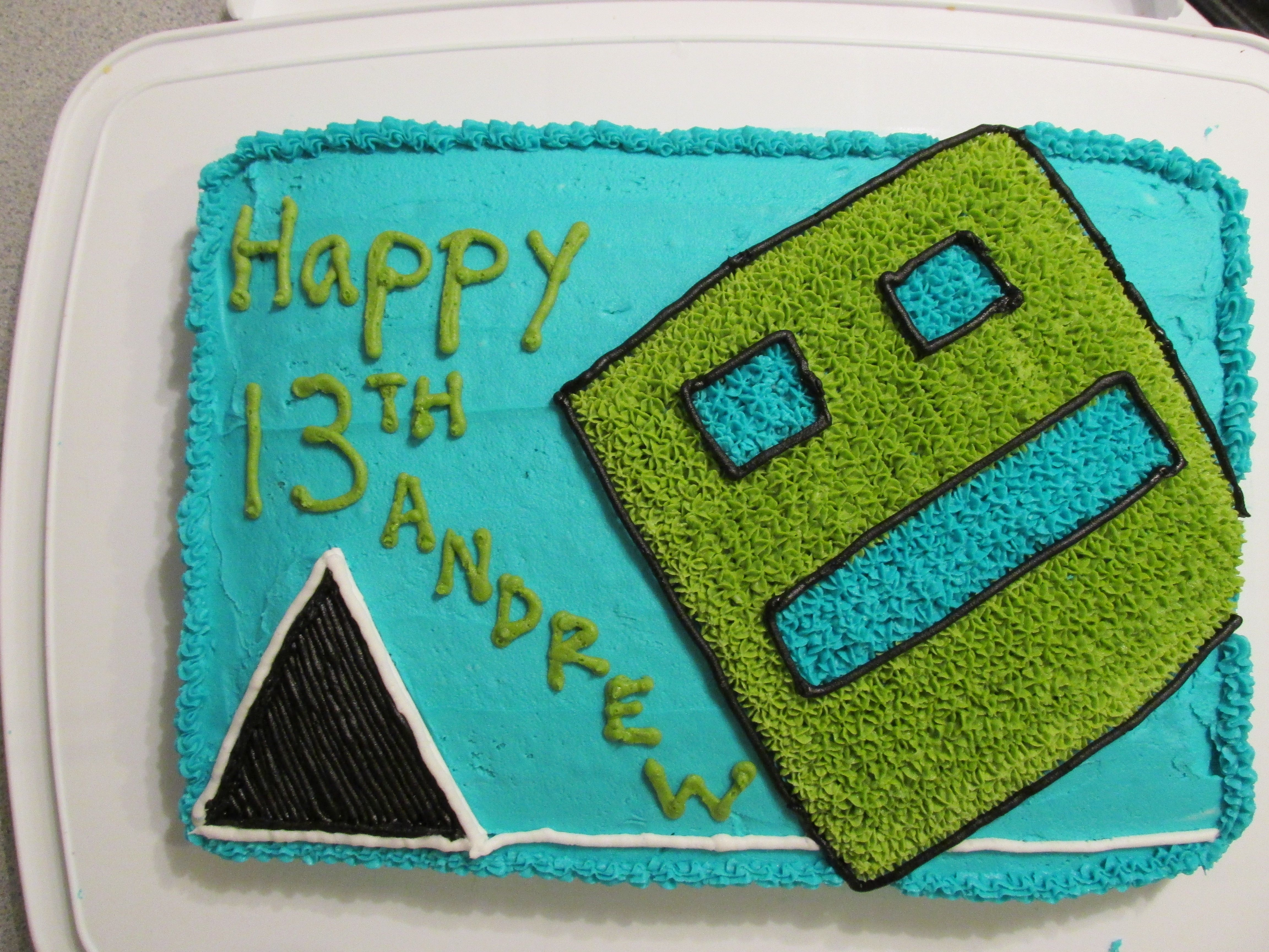 Geometry Dash Cake Andrew Age 13 My Cakes In 2018 Pinterest