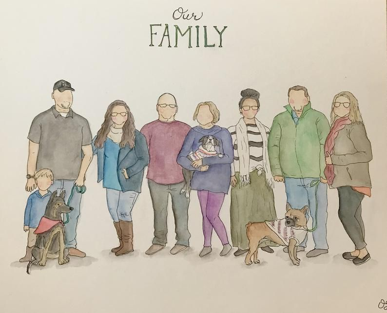 Couple Custom Mini Family Portrait Watercolour painting commission character illustration