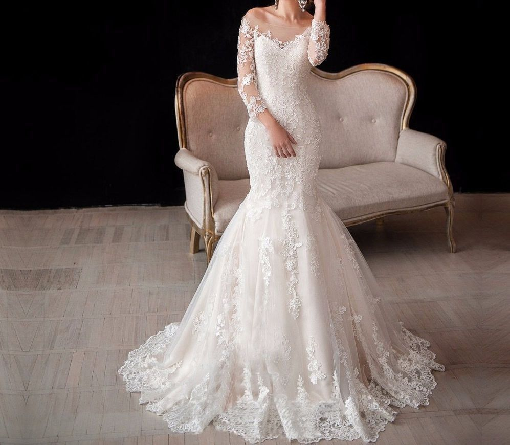 Bling brides vintage long sleeve lace wedding gown mermaid open back