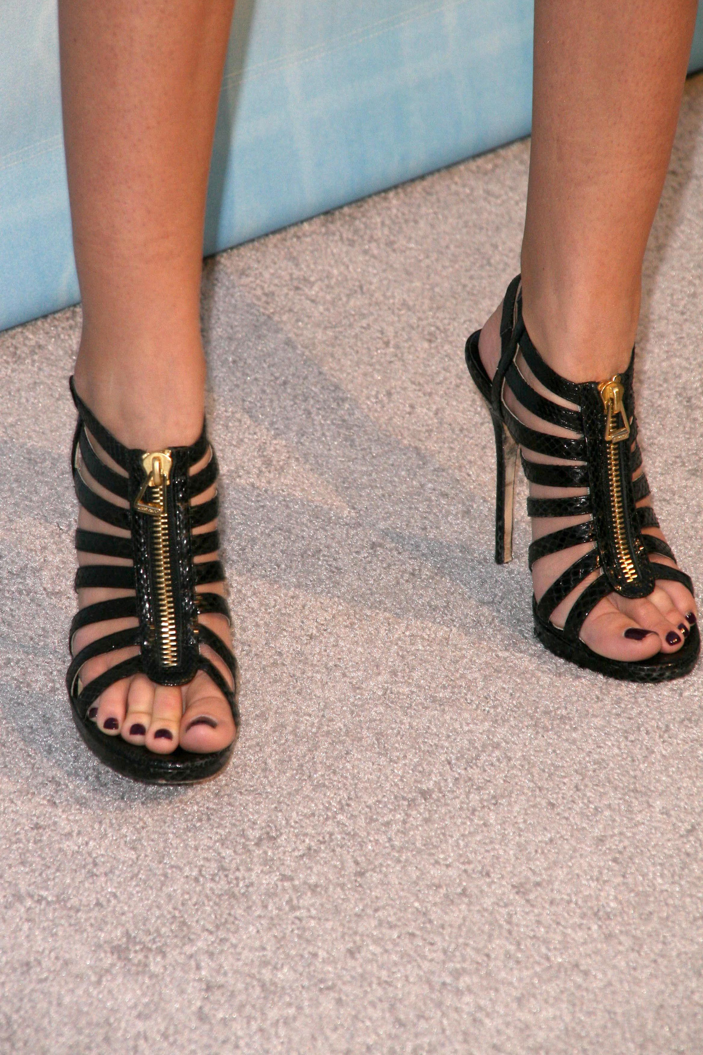 Long Slim Feet And Toes Black Multi Strap High Heels
