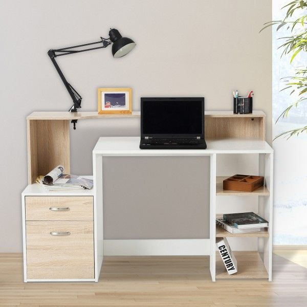Homcom mesas ordenador madera blanco roble 140x55x92cm - Mesas de ordenador baratas online ...