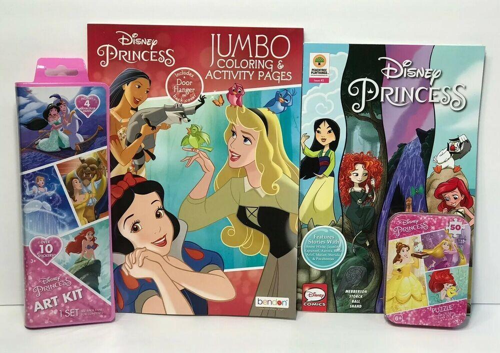 Lot 4 Disney Princess Jumbo Coloring Activity Book Water Colors Puzzle Comic Ebay Color Activities Disney Princess Colors Color Puzzle