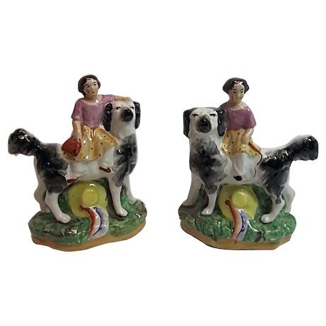 VICTORIAN 19th Century Pair of Old Staffordshire Ware Figurines Girl on Dog England