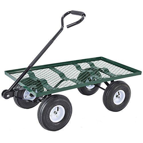 Uenjoy Lawn Yard Utility Garden Wagon, Steel Utility Flat Garden Wagon