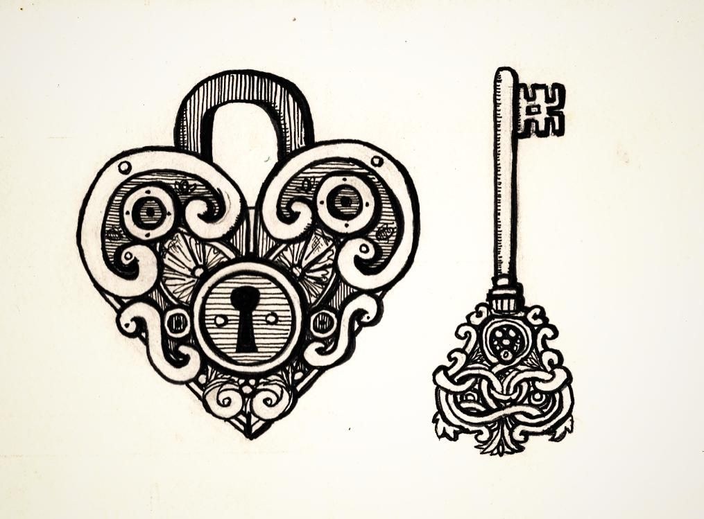 This is a photo of Intrepid Heart Lock And Key Drawing