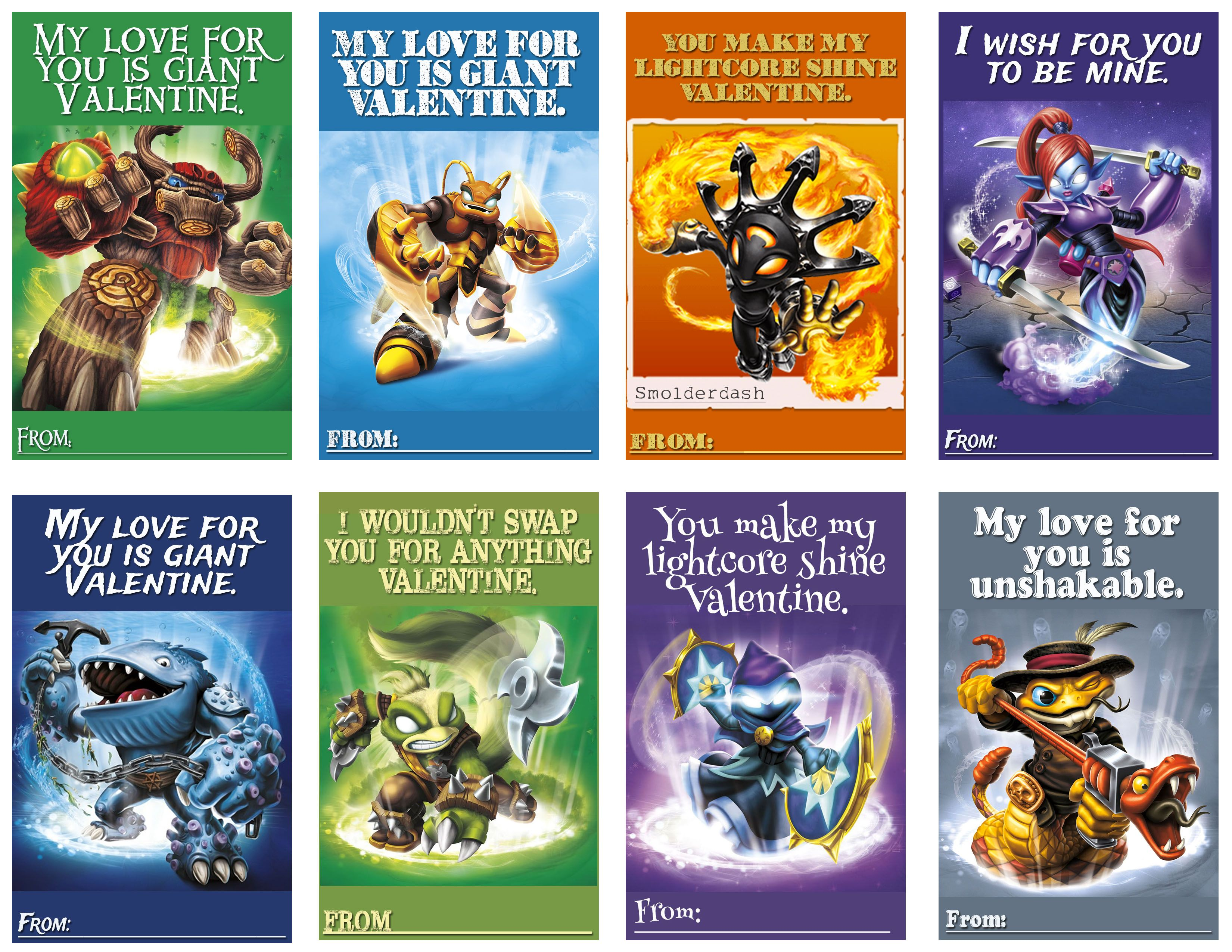 Skylander Valentines Page 2. There is a total of 24 different cards ...