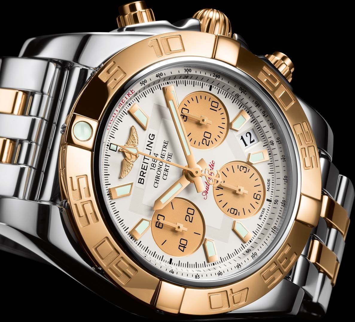 Breitling CHRONOMAT 41 Rose and Steel/ Old Northeast Jewelers is your Authorized Dealer for Breitling Fine Timepieces. 727-898-4377 or 813-875-3935 Sales@oldnortheastjewelers.com to order via email or visit our website at www.oldnortheastjewelers.com